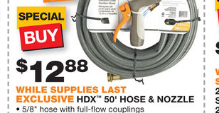 50′ Garden Hose and Nozzle for $12.88 at Home Depot